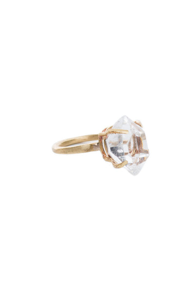 Torchlight Jewelry 2 Herkimer Quartz Diamond Ring / Delicate ring featuring hand-set natural herkimer quartz diamond charm / Engagement, wedding, special occasion ring