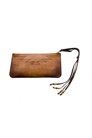 Torchlight Mountain Leather Wristlet / Handmade and hand dyed leather wristlet with hand etched design. Distressed to create a vintage feel.
