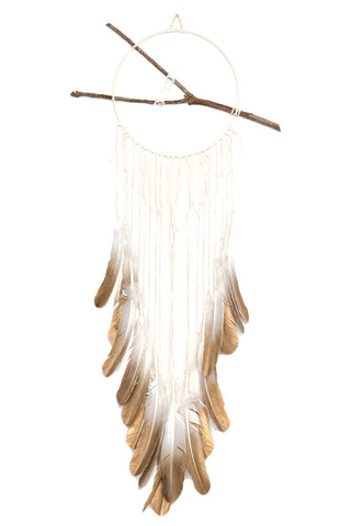 Torchlight Jewelry Classic Painted Spirit Dream Circle / Handmade dream catcher with white deerskin leather, hand painted feathers, found branch and quartz crystal