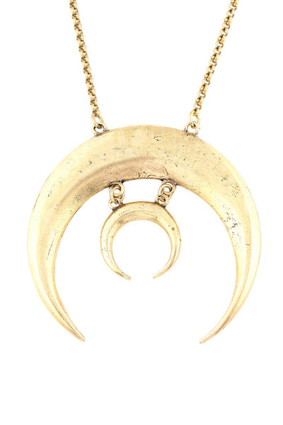 Torchlight Jewelry Sacred Moon Necklace in brass / Statement necklace with two crescent moon pendant charms