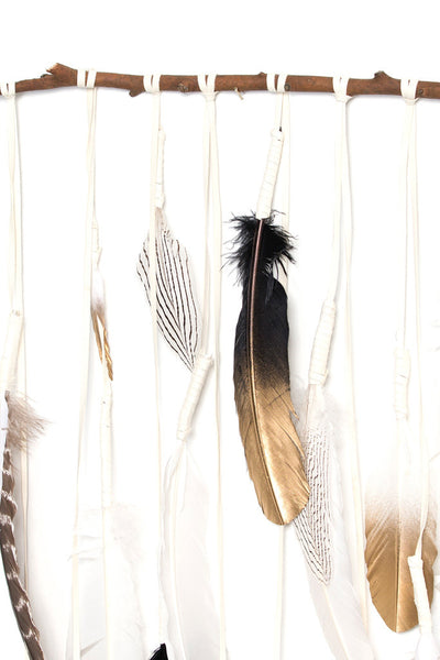 Torchlight Jewelry Santa Ana / Handmade Wall Hanging Made With Turkey Feathers and White Deer Skin Leather