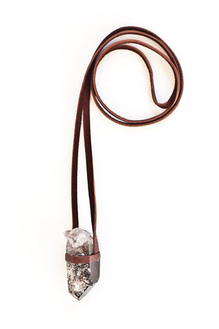 Torchlight Jewelry Smoky Quartz Crystal Pendant on Deerskin Leather