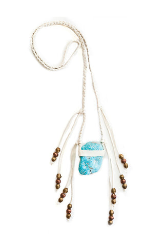 Torchlight Jewelry Turquoise Vagabond / Turquoise crystal pendant necklace with beaded fringe on necklace