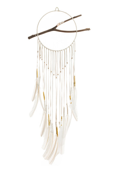 Torchlight Jewelry White Gossamer Dream Circle / Dream catcher made with white deerskin leather, white turkey feathers, gold thread, brass beads, found eucalyptus branch, and quartz crystal