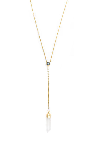 Torchlight Jewelry Blue Moon Lariat Necklace / Lariat bolo style necklace with gold dipped crystal and opal cabochon
