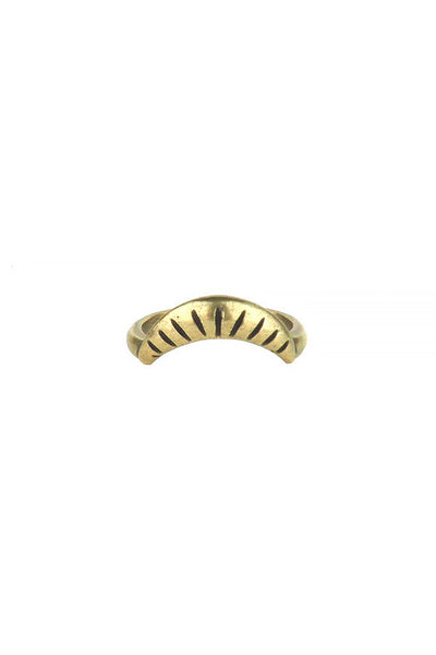 Torchlight Jewelry Harvest Moon Ring in Brass / Arc shaped etched ring