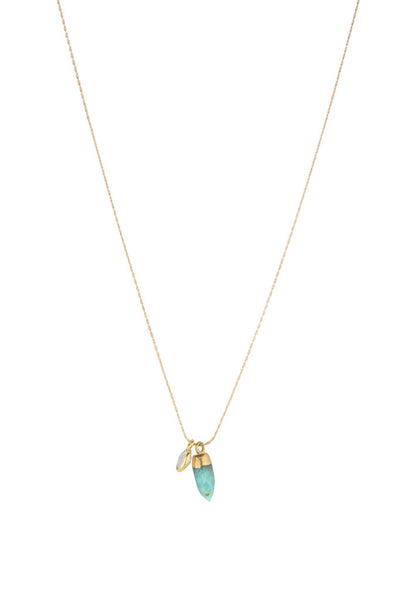 Torchlight Jewelry Amazonite Duality Charm Necklace / Delicate charm necklace with amazonite spike and quartz bezel ideal for layering or wearing alone