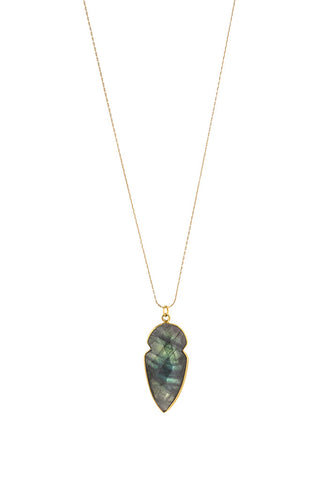 Torchlight Jewelry Labradorite Arrowhead Charm Necklace / Delicate charm necklace with faceted labradorite arrowhead bezel charm ideal for layering or wearing alone