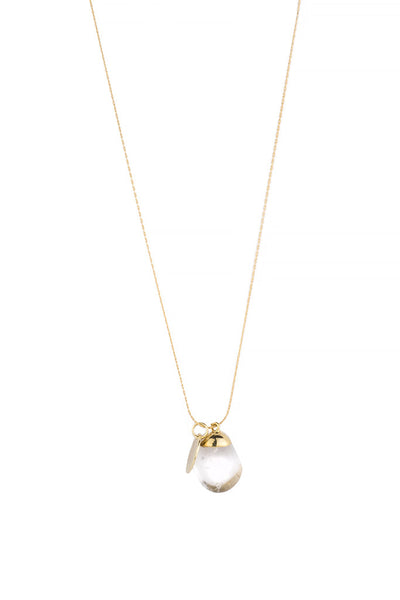 Torchlight Jewelry Quartz Charm Necklace / Delicate charm necklace with quartz charm and gold vermeil charm ideal for layering or wearing alone