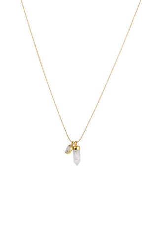Torchlight Jewelry Quartz Duality Charm Necklace / Delicate charm necklace with quartz spike and quartz bezel charms ideal for layering or wearing alone