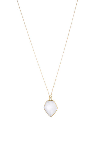 Torchlight Jewelry Quartz Shield Charm Necklace / Delicate charm necklace with faceted quartz shield bezel ideal for layering or wearing alone