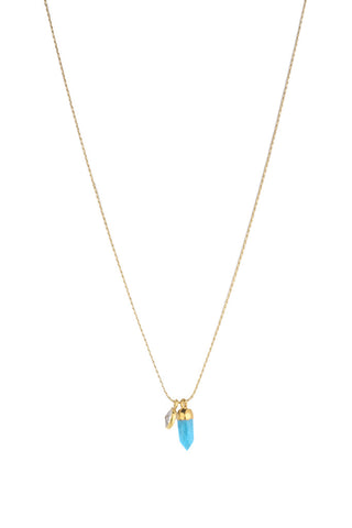 Torchlight Jewelry Turquoise Duality Charm Necklace / Delicate charm necklace with turquoise spike and quartz bezel ideal for layering or wearing alone