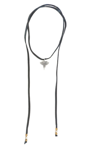 Torchlight Jewelry Thunderbird Bolo / Lariat style leather necklace with thunderbird charm and beaded ends