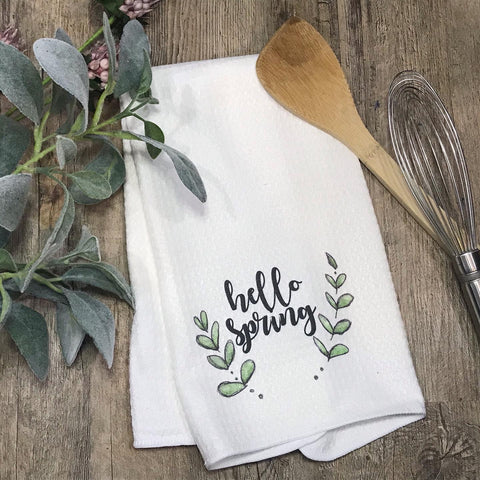 Hello Spring with Sprigs Kitchen or Bathroom Towel