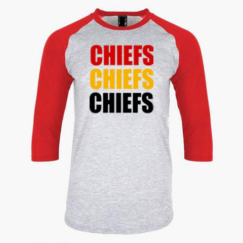 Chiefs Red Raglan Shirt with Red, Yellow, Black Block Letters