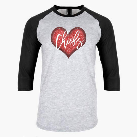 Chiefs Black Raglan Shirt with Red Glitter Heart