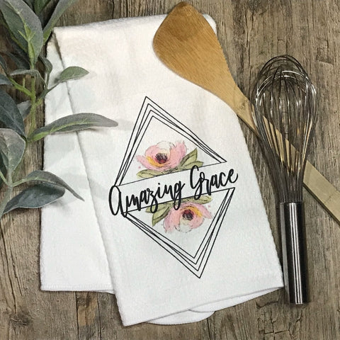 Amazing Grace - Triangle Peonies - Kitchen or Bathroom Towel