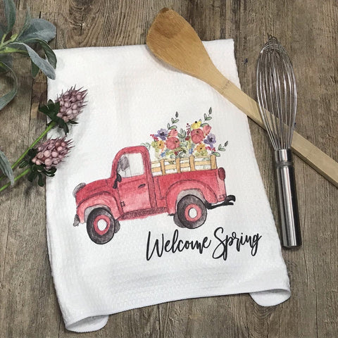 Welcome Spring Red Truck with Flowers Kitchen or Bathroom Towel