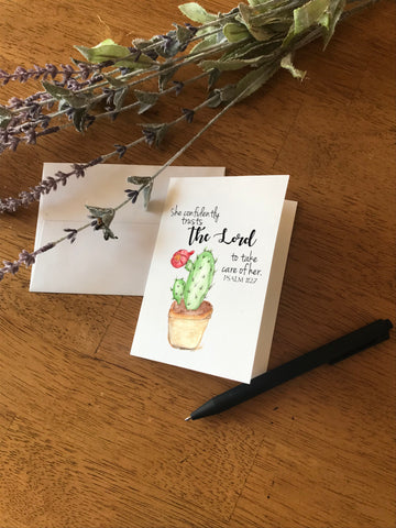 She Confidently Trusts Cactus - Greeting Card