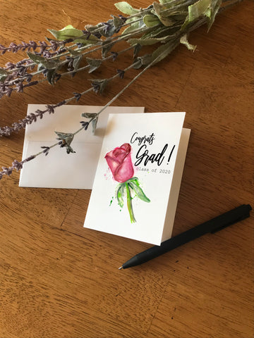 Congrats Grad! Class of 2020 - Pink Rose - Greeting Card
