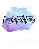 Congratulations - Watercolor Splash Blue Purple - Greeting Card