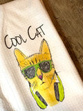 """Cool Cat"" Decor Kitchen or Bathroom Towel"
