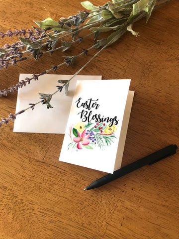 Easter Blessings with Floral Swag - Greeting Card
