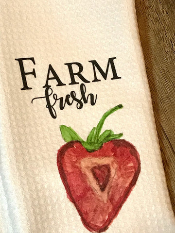 """Farm Fresh"" With Strawberry Decor Kitchen or Bathroom Towel"