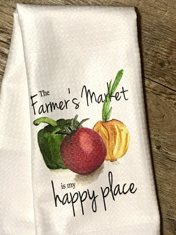 """The Farmer's Market Is My Happy Place"" Decor Kitchen or Bathroom Towel"