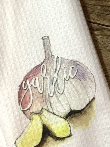 """Garlic"" Decor Kitchen or Bathroom Towel"