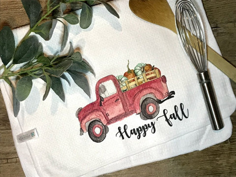 """Old Red Truck... Happy Fall""  Decor Kitchen or Bathroom Towel"