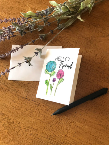 Hello Friend Round Flowers - Greeting Card