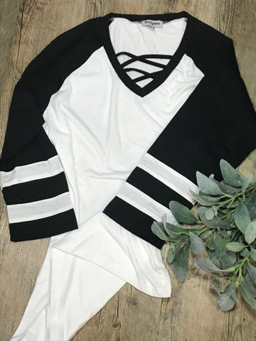 Black Criss Cross Neck Shirt with white stripe sleeves