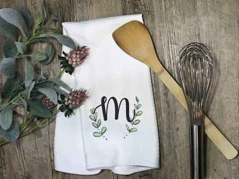 M - leaf half wreath tea towel/ Personalized tea towel / Wedding Gift