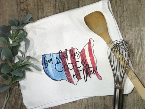 """God Shed His Grace on Thee"" Patriotic Decor Kitchen or Bathroom Towel"