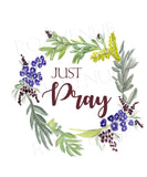 Just Pray Bluebell Wreath - Greeting Card