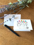 Just A Little Note Ink Stem Flowers - Greeting Card
