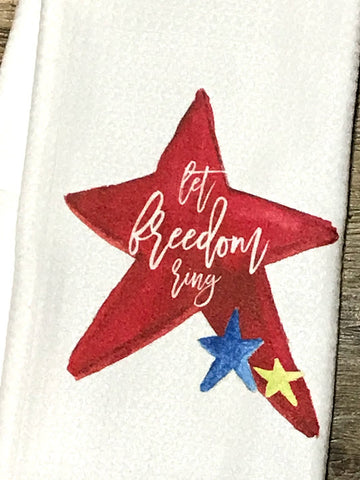 """Let Freedom Ring"" Patriotic Decor Kitchen or Bathroom Towel"