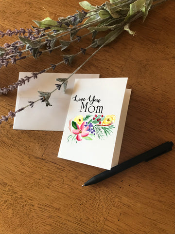 Love You Mom - Floral Swag - Greeting Card