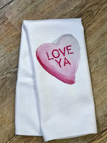 "Valentines Day Towel / Conversation Hearts / ""Love Ya"" / custom sayings"
