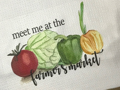 """Meet Me at The Farmers Market"" Decor Kitchen or Bathroom Towel"