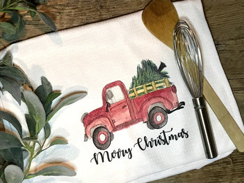 """Merry Christmas With Old Red Truck"" Decor Kitchen or Bathroom Towel"