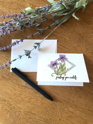 Sending You Violets - Greeting Card
