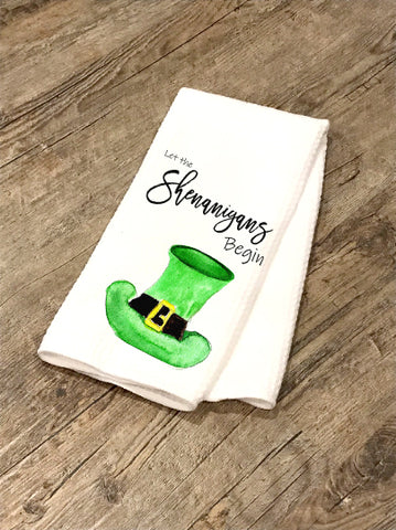 Shenanigans Begin / St. Patrick's Day decor/ Farmhouse teatowel / tea towel/ kitchen towel / gift