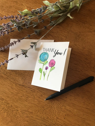 Thank You - Round Flowers - Greeting Card