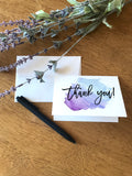 Thank You - Watercolor Splash Blue Purple - Greeting Card
