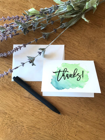 Thanks - Watercolor Splash Blue Green - Greeting Card