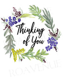 Thinking of You - Bluebell Wreath - Greeting Card