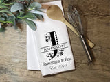 Personalized Initial Towel with Established Date & Floral Accents - Kitchen or Bathroom Towel