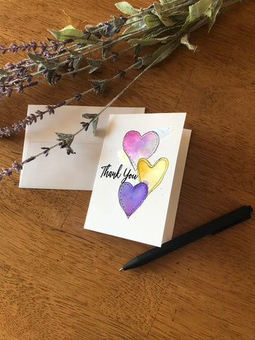 Thank you Triple Heart - Greeting Card